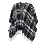 Monogrammed Black Plaid Shawl