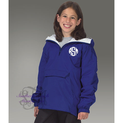 Monogrammed Youth Pullover Rain Jacket