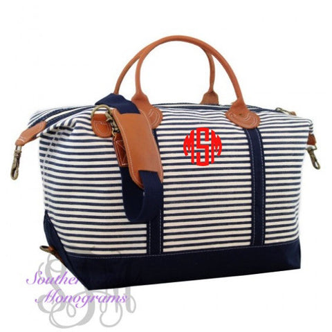 Monogrammed Striped Canvas Weekender