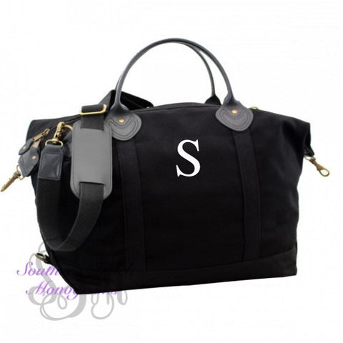 Monogrammed Black Canvas Weekender