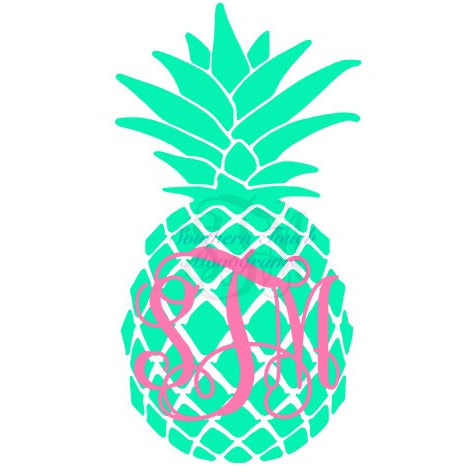 Monogrammed Two Tone Pineapple Vinyl Decal
