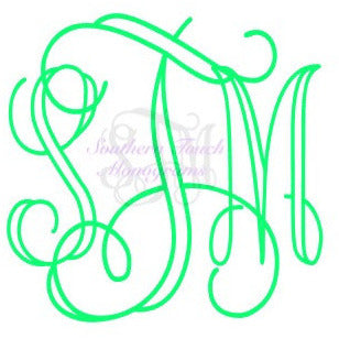 Monogrammed Vine Outline Vinyl Decal