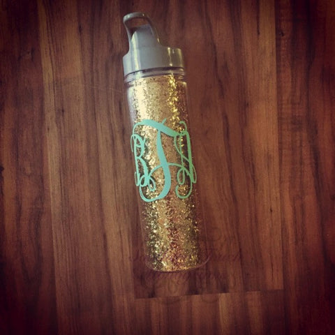 Monogrammed Glitter Acrylic Water Bottle