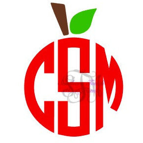 Monogrammed Apple Topper Vinyl Decal