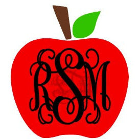 Monogrammed Apple Vinyl Decal