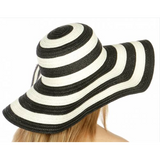 Monogrammed Striped Floppy Hat