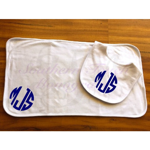 Monogrammed Baby Bib and Burp Cloth