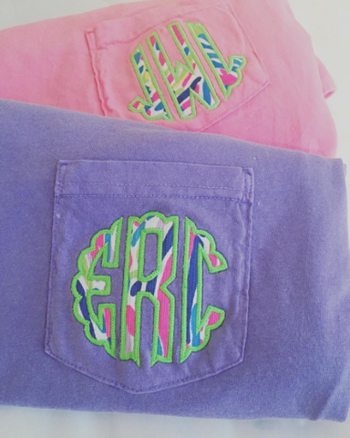 Monogrammed Lilly Pulitzer Applique Comfort Colors Short Sleeve Pocket T-Shirt