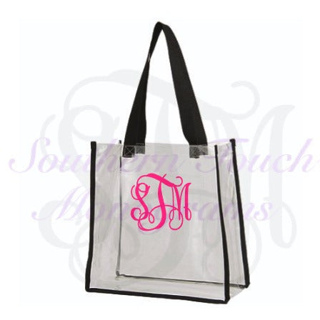 Monogrammed Clear Tote Bag