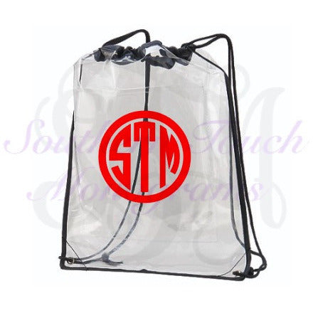 Monogrammed Clear Cinch Bag