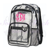 Monogrammed Clear Backpack