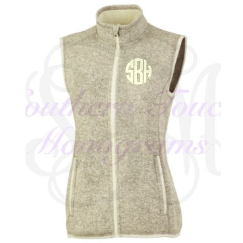 Monogrammed Heathered Fleece Vest