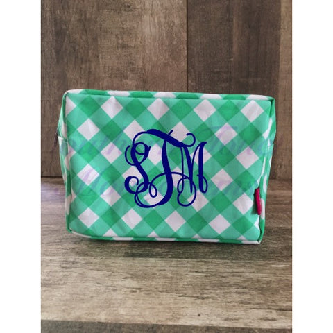 Monogrammed Gingham Cosmetic Bag