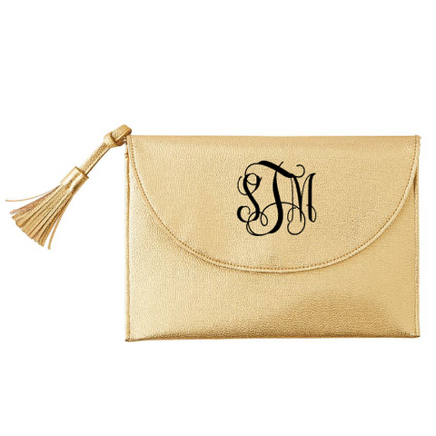 Monogrammed Gold Crossbody Clutch