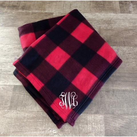 Monogrammed Plaid Fleece Blanket