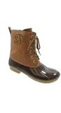 Monogrammed Brown Glossy Duck Boots