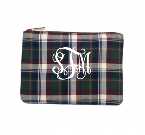 Monogrammed Avery Plaid Zip Pouch