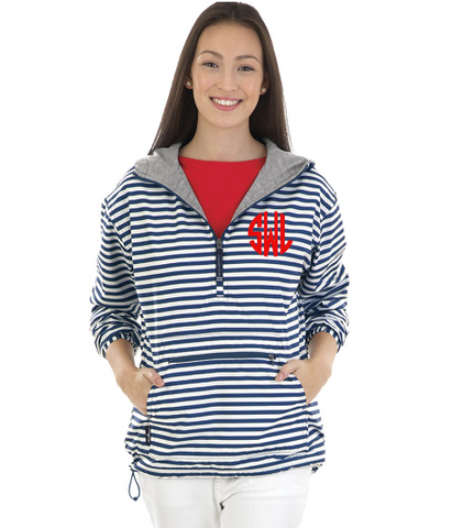 Monogrammed Striped Anorak Pullover