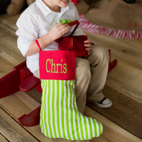 Monogrammed Striped Christmas Stocking