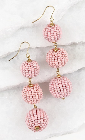 Light Pink Seed Bead Ball Drop Earrings