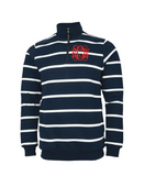 Monogrammed Striped Unisex Quarter Zip Pullover Sweatshirt