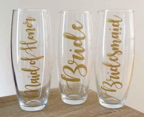 Personalized Bridal Party Champagne Flutes