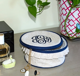 Monogrammed Navy Ruffle Trim Jewelry Case