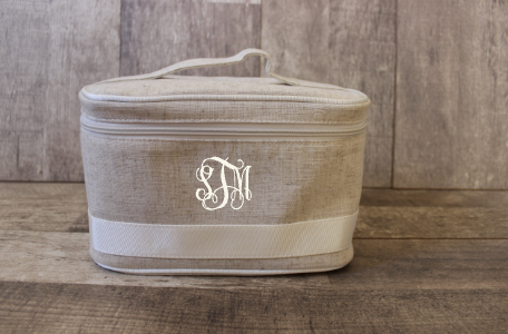 Monogrammed White Linen Train Cosmetic Bag