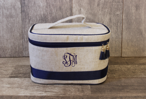 Monogrammed Navy Linen Train Cosmetic Bag