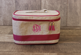 Monogrammed Pink Linen Train Cosmetic Bag