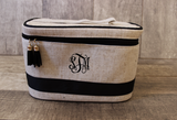 Monogrammed Black Linen Train Cosmetic Bag