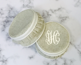 Monogrammed White Ruffle Trim Jewelry Case