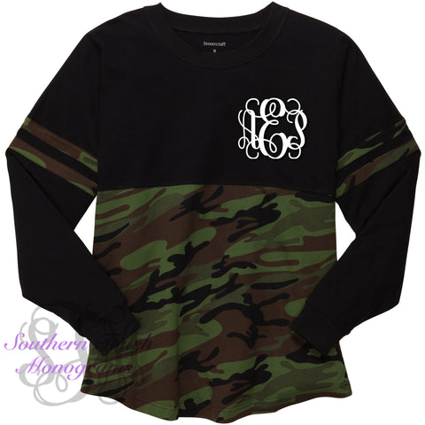 Monogrammed Camo Colorblock Jersey