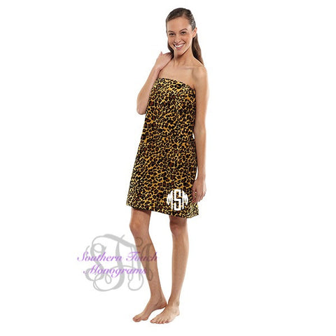 Monogrammed Animal Print Spa Wrap