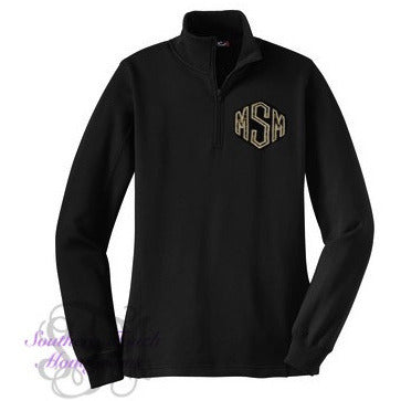 Monogrammed Applique Quarter Zip Pullover Sweatshirt