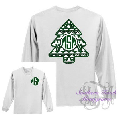 Monogrammed Aztec Christmas Tree Long Sleeve T-Shirt