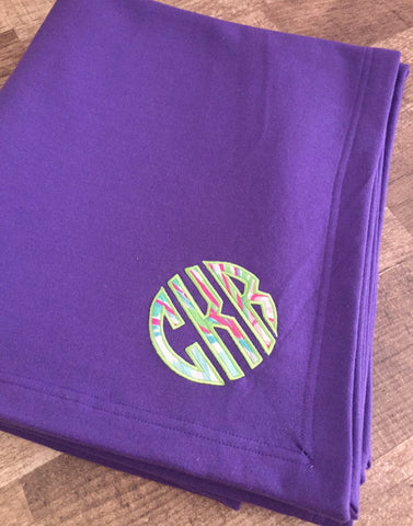 Monogrammed Lilly Pulitzer Applique Sweatshirt Blanket
