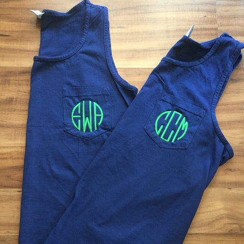 Monogrammed Comfort Colors Pocket Tank Top
