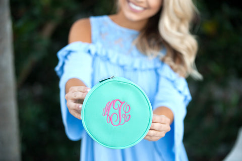 Monogrammed Mint Jewelry Case