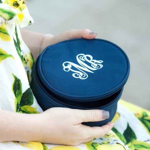 Monogrammed Navy Jewelry Case