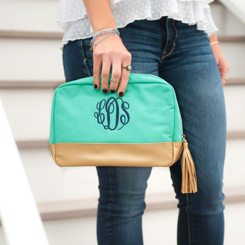 Monogrammed Mint Cabana Cosmetic Bag