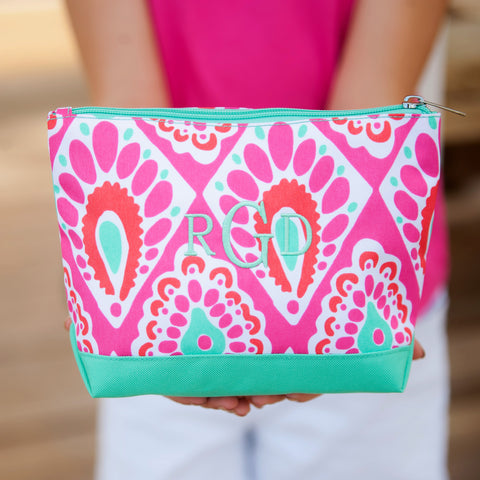 Monogrammed Beachy Keen Cosmetic Bag