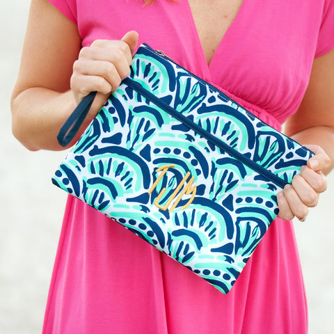 Monogrammed Make Waves Zip Pouch Wristlet