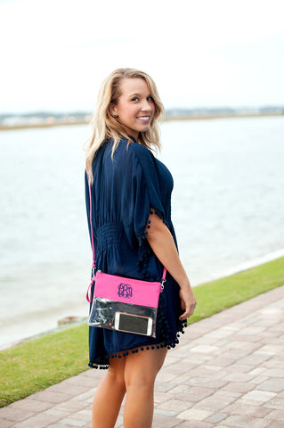 Monogrammed Hot Pink Clear Purse