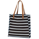 Monogrammed Black Stripe Tote Bag