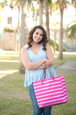 Monogrammed Hot Pink Stripe Tote Bag