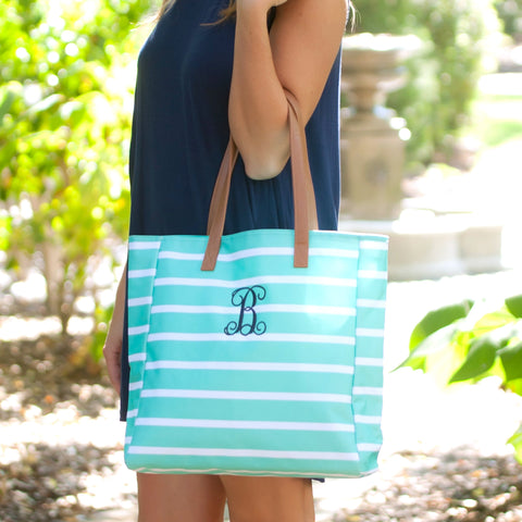 Monogrammed Mint Stripe Tote Bag