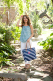 Monogrammed Navy Stripe Tote Bag