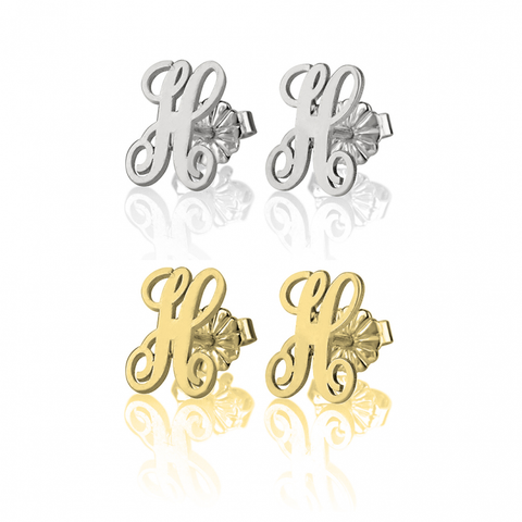 Monogrammed Single Initial Classic Stud Earrings