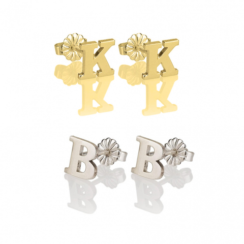 Monogrammed Single Initial Block Stud Earrings